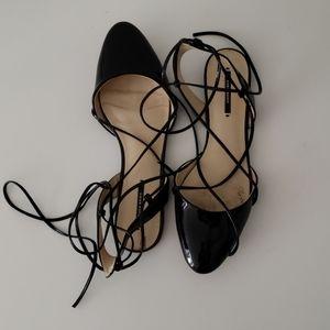 Zara patent tie up flats